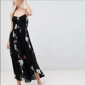 Free People Beau Black Printed Maxi Slip Dress XS